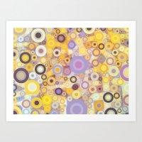 Purple Yellow Washing Machine Cycle Art Print