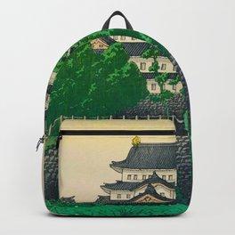 Kawase Hasui Vintage Japanese Woodblock Print Nagoya Castle Backpack