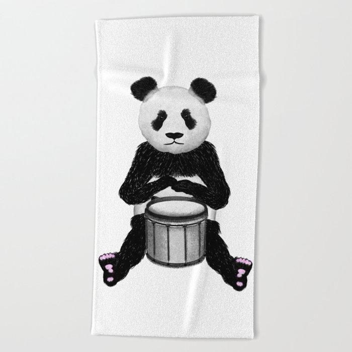 Panda Drummer Beach Towel