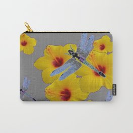 BLUE DRAGONFLIES YELLOW HIBISCUS GREY Carry-All Pouch