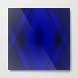 Ice triangular strokes of intersecting crisp lines with blue triangles and stripes. Metal Print