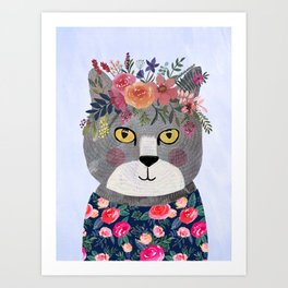 Grey Cat With Floral Crown Art Print