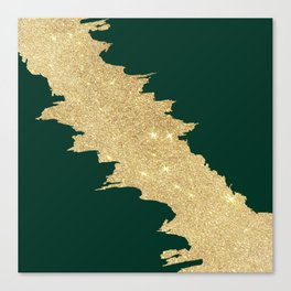 Stylish forest green gold glitter abstract brushstrokes Canvas Print