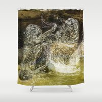 tigers Shower Curtains featuring fighting Tigers by Kevin Baxter