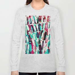Pink and Teal on White Sugarcane Long Sleeve T-shirt