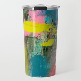 Collision - a bright abstract with pinks, greens, blues, and yellow Travel Mug