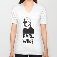 karl V-neck T-shirts featuring Karl who? by Muneera B