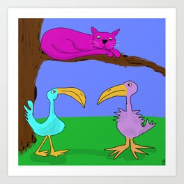 Purple Cat is birdwatching Art Print