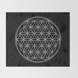 Flower of life on black Throw Blanket