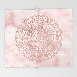 Misty pink marble rose gold mandala Throw Blanket