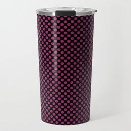 Black and Festival Fuchsia Polka Dots Travel Mug