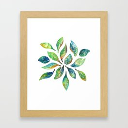 Watercolor floral leaf pattern Framed Art Print