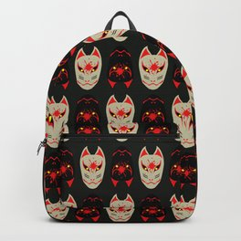 """Japanese Fox Mask """"Good and Evil"""" 2 Backpack"""