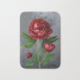 Red Peony Flower Painting Bath Mat