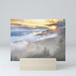 Sunrise and Dust - Mountains - Forest - Wood - Trees - Fog Mini Art Print