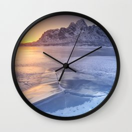 Frozen fjord on the Lofoten in northern Norway Wall Clock