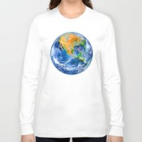 earth Long Sleeve T-shirts featuring Earth by Marble Trouble