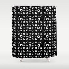 stars 19 black and white Shower Curtain