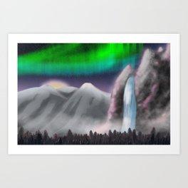 Northern Light Falls Art Print