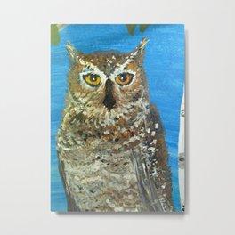 Owl and Birch Metal Print