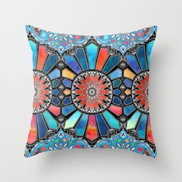 Iridescent Watercolor Brights on Black Throw Pillow