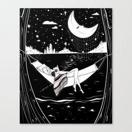 Reading in the Moonlight Canvas Print