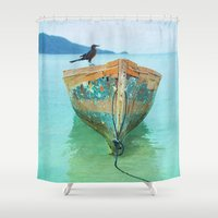 amelie Shower Curtains featuring BOATI-FUL by Catspaws