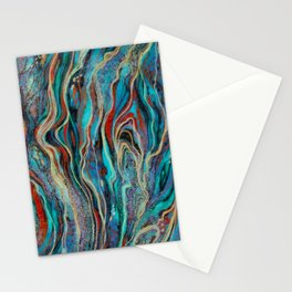 Colorful wavy abstraction Stationery Cards