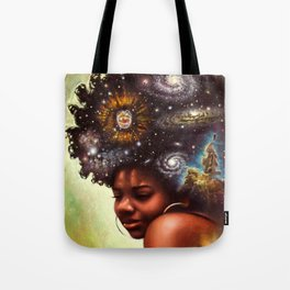 Black-Girl Magic - woman with the universe in her afro Tote Bag