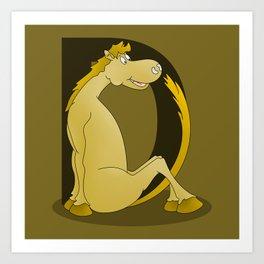 Pony Monogram Letter D Art Print