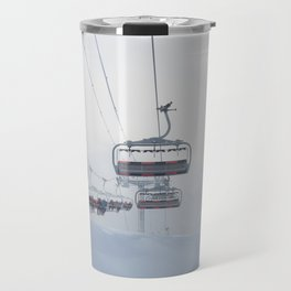Skiers on chairlift, Alps Travel Mug