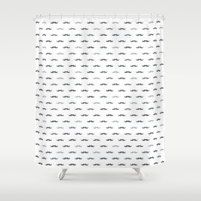Grey Mustache Shower Curtain by happypatterns | Society6