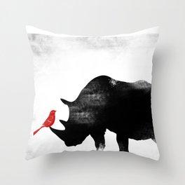 Rhino with bird Throw Pillow