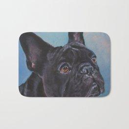 french bulldog dog portrait art from an original painting by L.A.Shepard Bath Mat