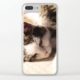 Sleeping Cat Illustration Clear iPhone Case