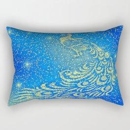 Sparkling Blue & Yellow Peacock Rectangular Pillow