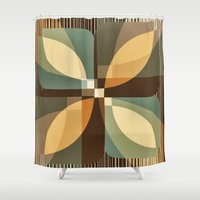 clover Shower Curtains featuring clover by Julia Tomova