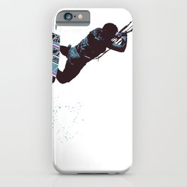 Kite And Surfboard Freestyle Silhouette Vector iPhone Case