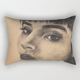 Graphic art, coal portrait brunette girl Rectangular Pillow