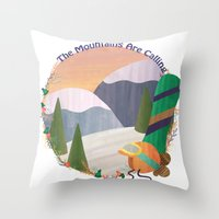 snowboard Throw Pillows featuring Moutains Are Calling - Snowboard by Megs Higgins