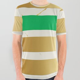 Gold & Green Stripe on Marble All Over Graphic Tee