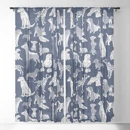 Geometric sweet wet noses // navy blue background white dogs Sheer Curtain