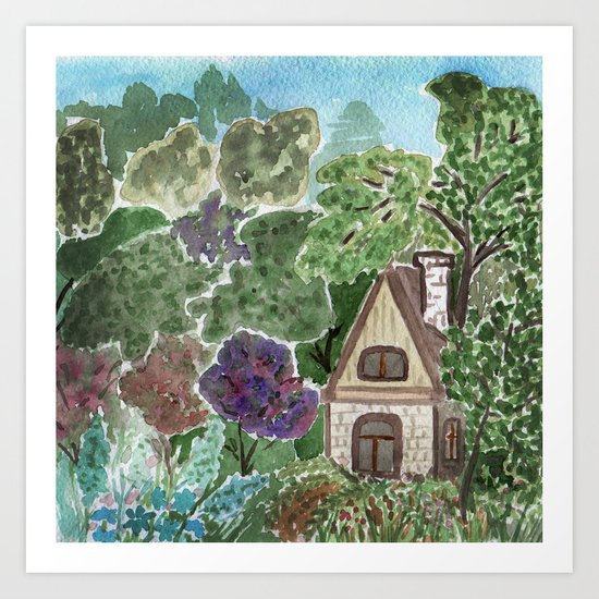House in the garden . watercolor . Art Print