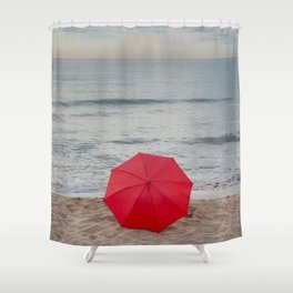 Red Umbrella lying at the beach III Shower Curtain