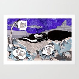 Sleeping under night sky Art Print