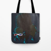 bison Tote Bags featuring Bison by Vó Maria