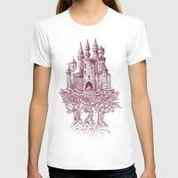 castle T-shirts featuring Castle in the Trees by Rachel Caldwell