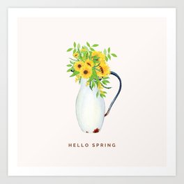 Hello Spring I (Sunflowers in Vintage Vase) Art Print