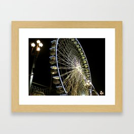Ferris Wheel at Night in Nice, France Framed Art Print