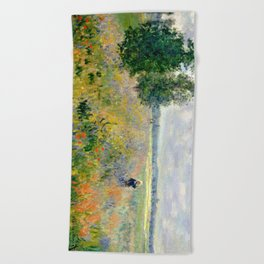 Poppy Fields near Argenteuil by Claude Monet Beach Towel